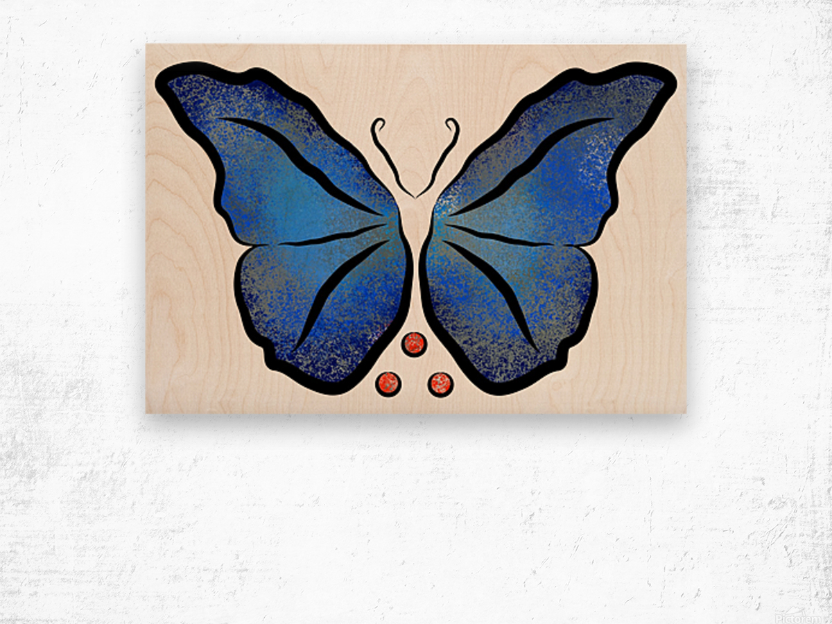 Deonioro - deep blue night butterfly with pearls Wood print