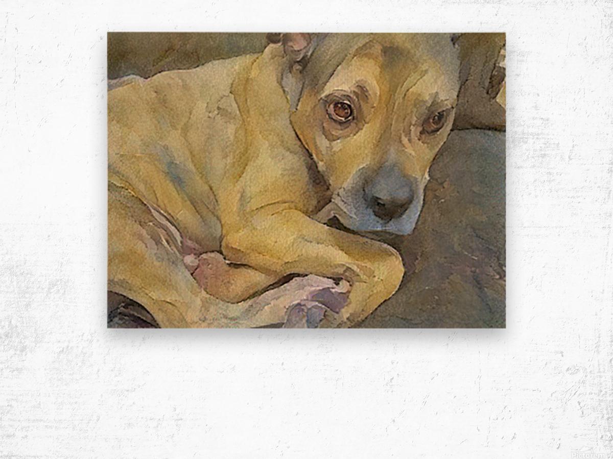 Watercolor dog painting Wood print
