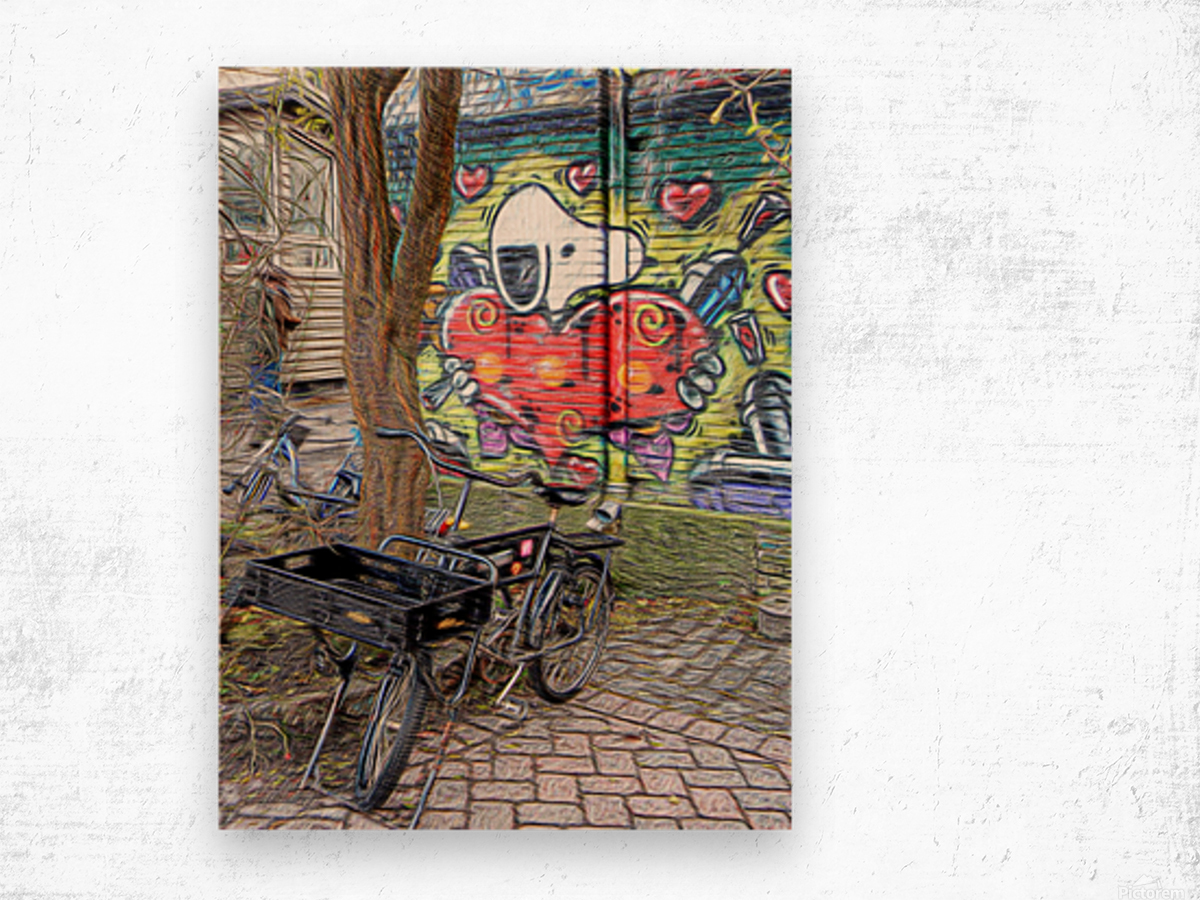Bicycles at Rest Wood print