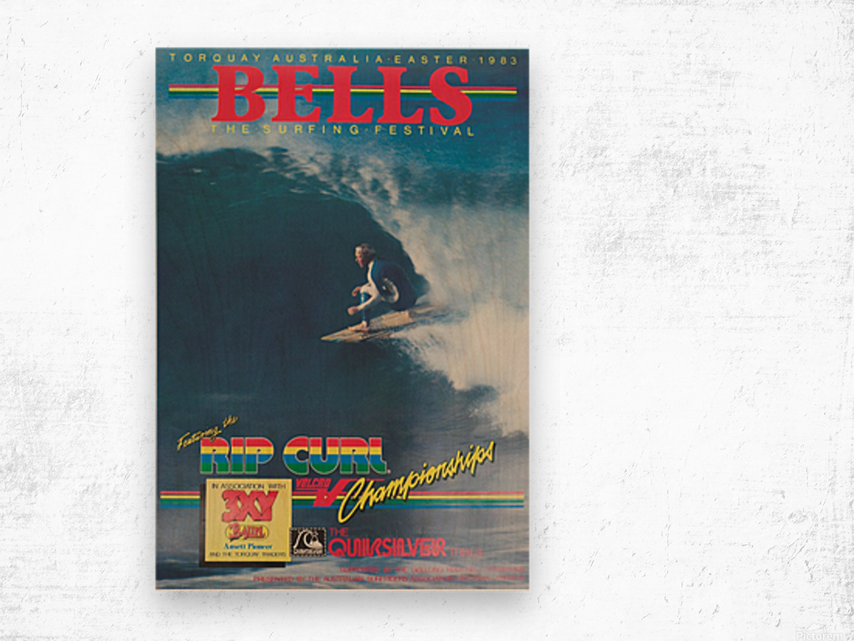 1983 RIP CURL BELLS BEACH EASTER Surfing Championship Competition Print - Surfing Poster Wood print