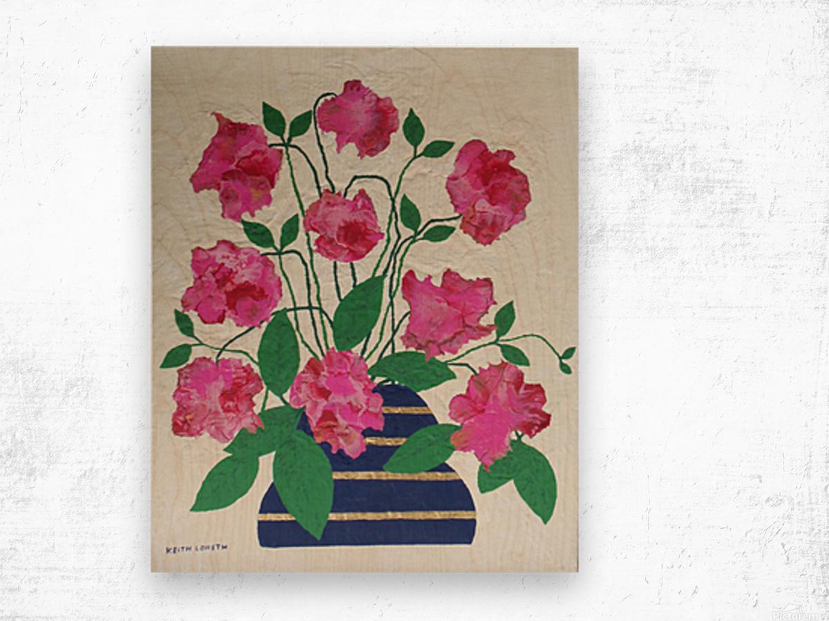 Flowers in navy blue vase  Wood print