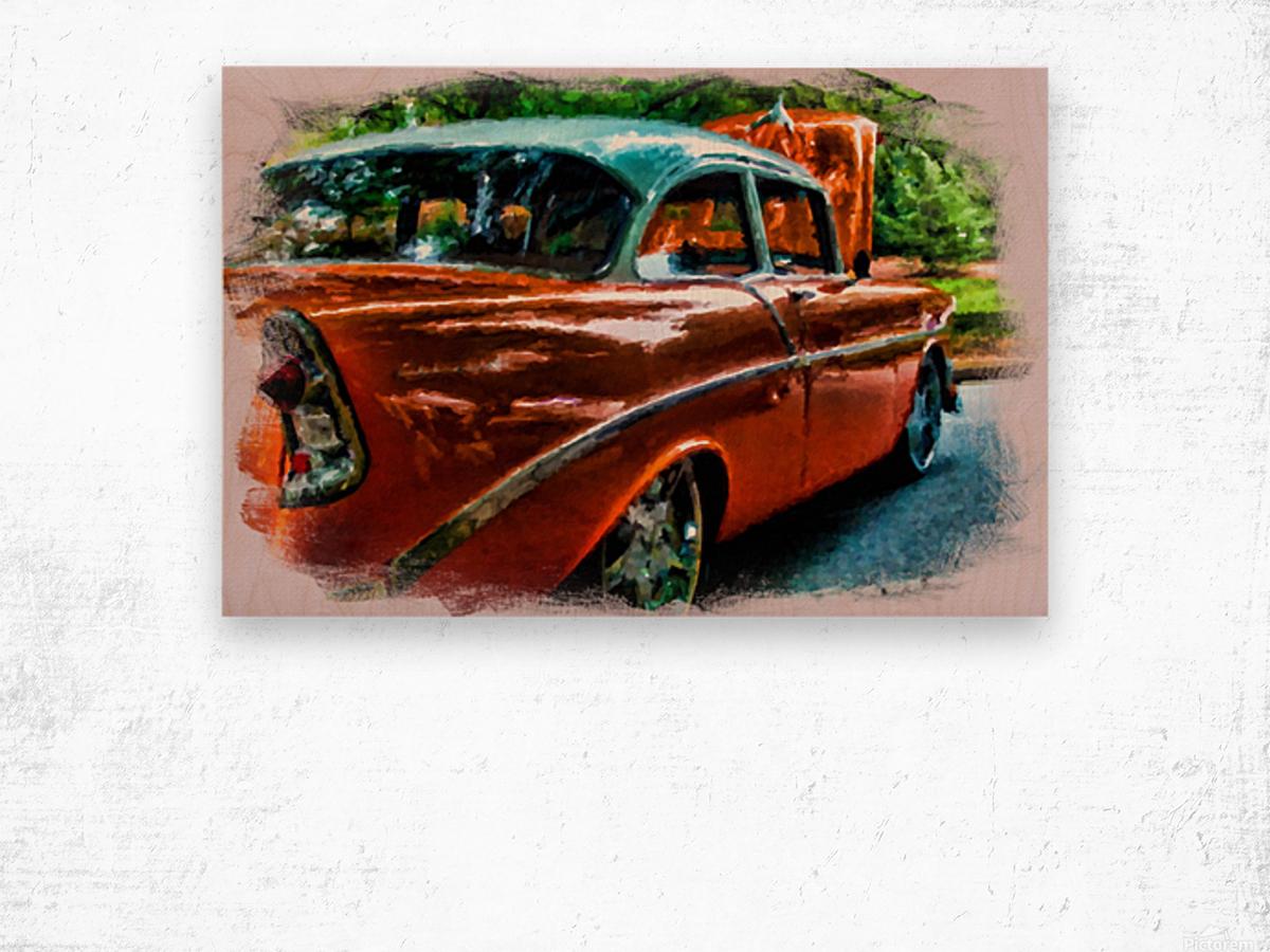 Classic Orange Car in Park Painting Wood print