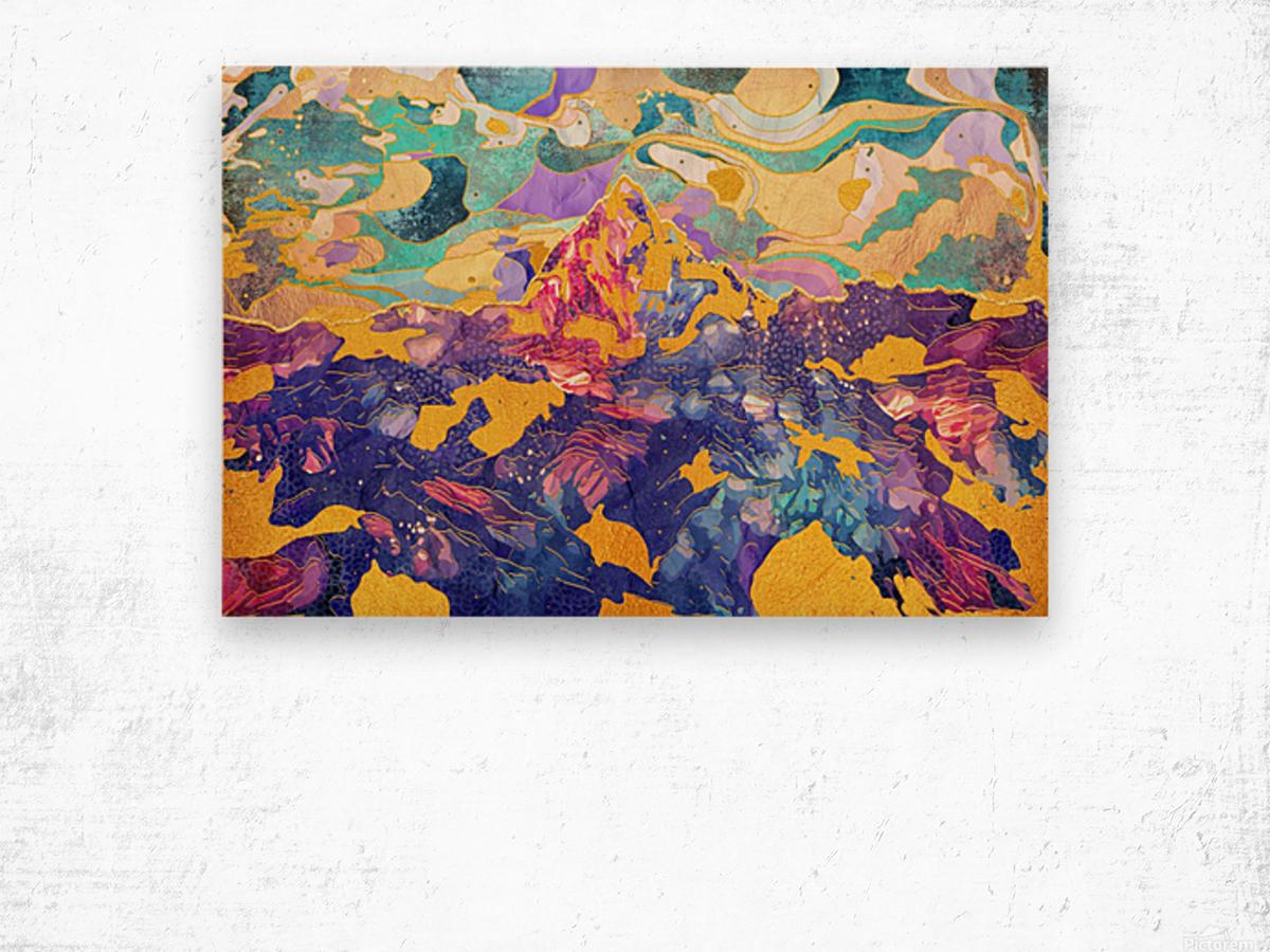 Dreamy Mountain - Illustration II Wood print