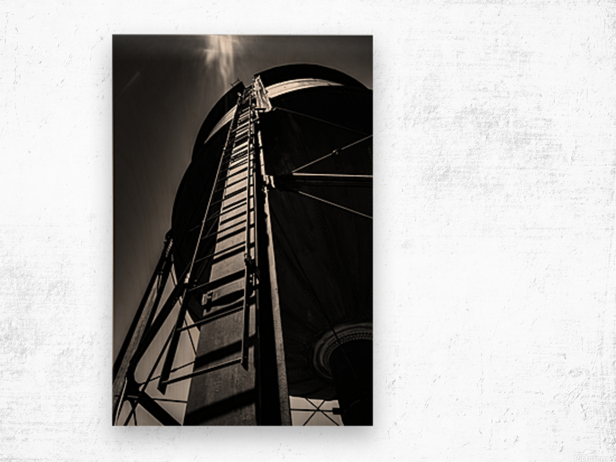 Water Tower BnW Wood print
