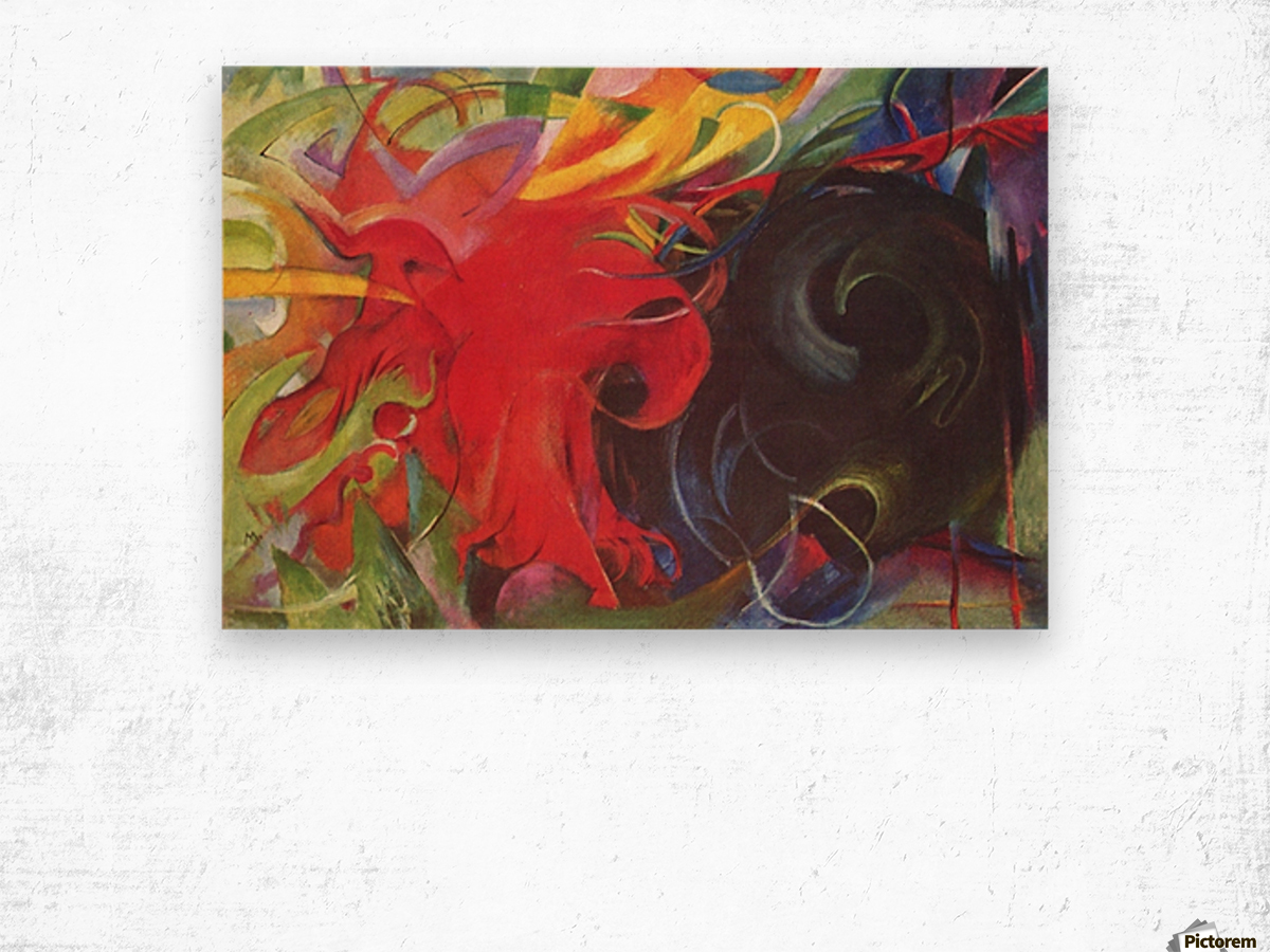 Fighting forms by Franz Marc Wood print