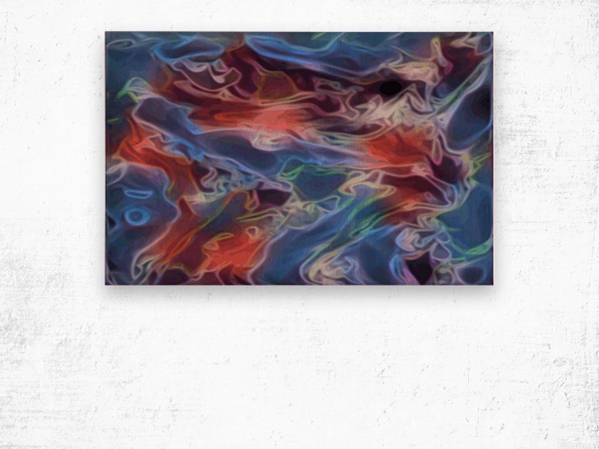 Blue Flames - multicolor abstract swirls Wood print
