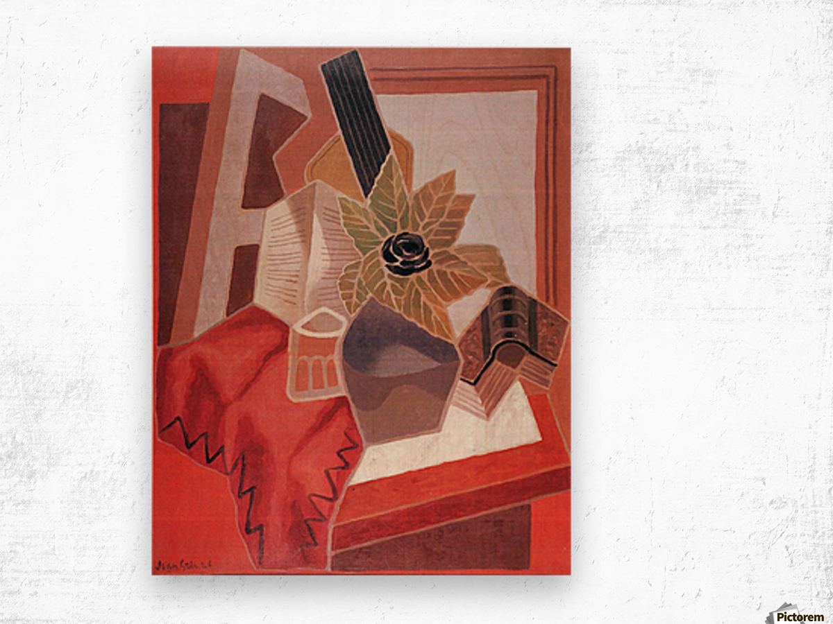 Flowers on the table by Juan Gris Wood print