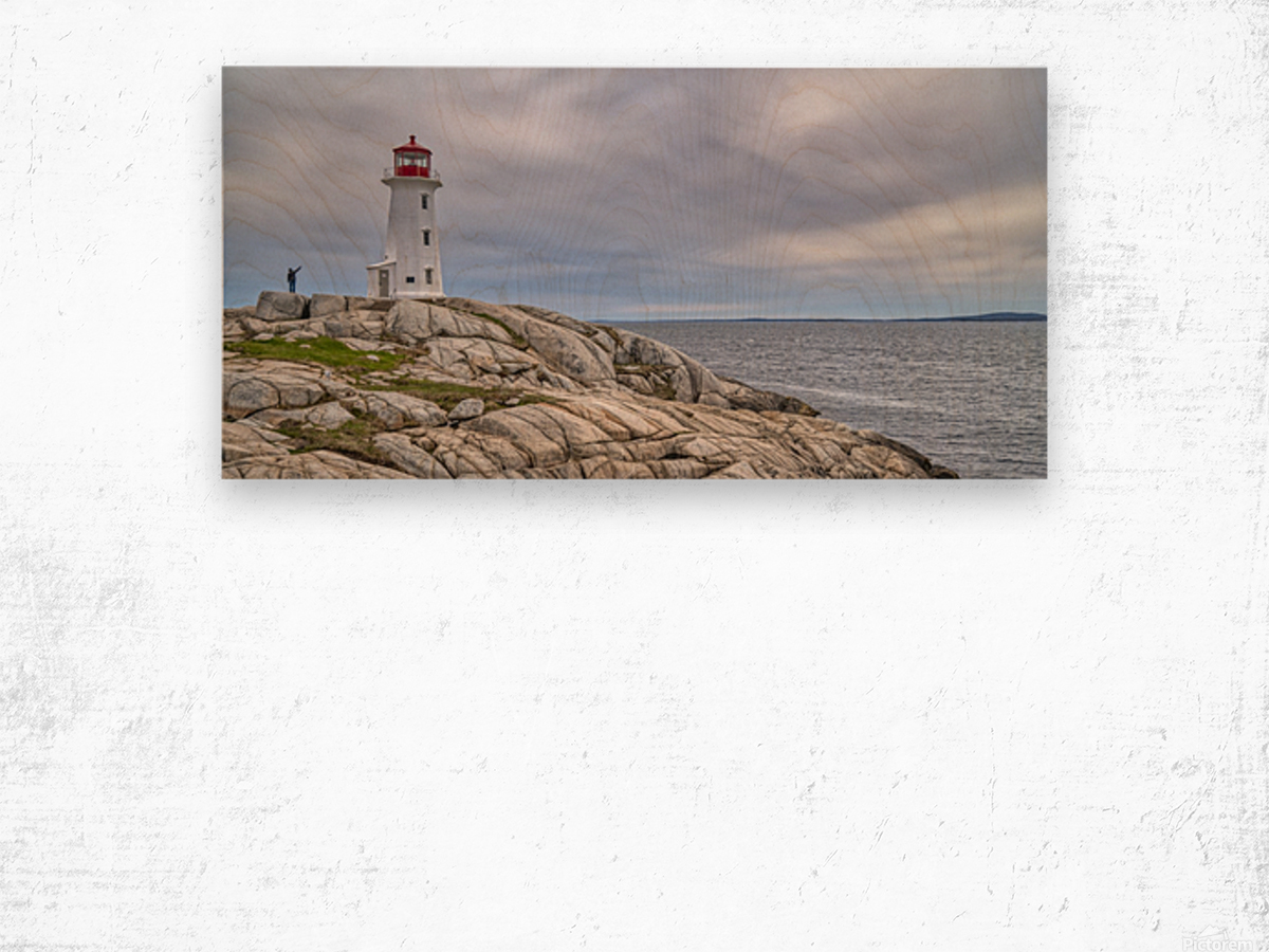Alone at Peggys Cove. Wood print