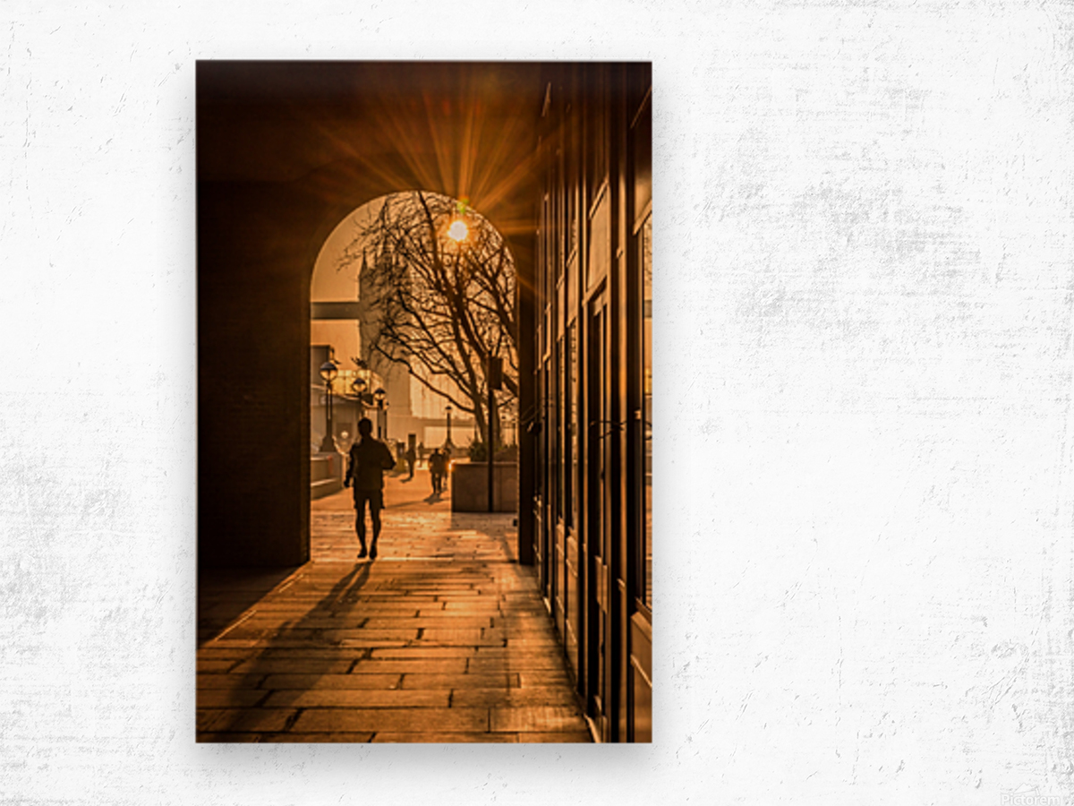 Silhouette  Tower Bridge London Wood print