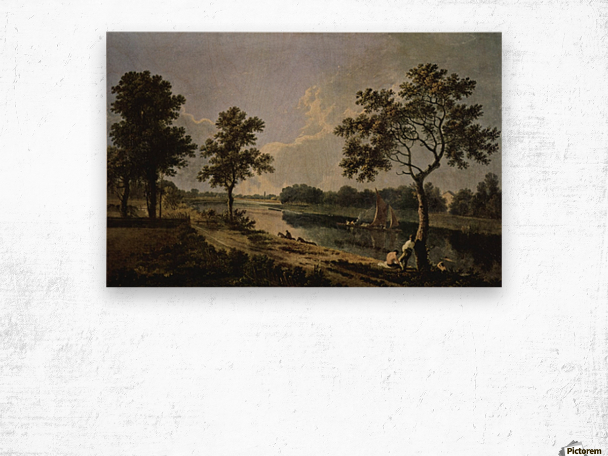 Men by the river Wood print