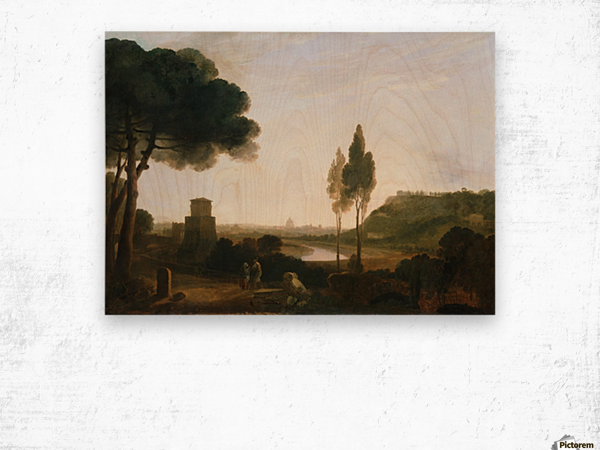 Rome and the Ponte Molle Wood print
