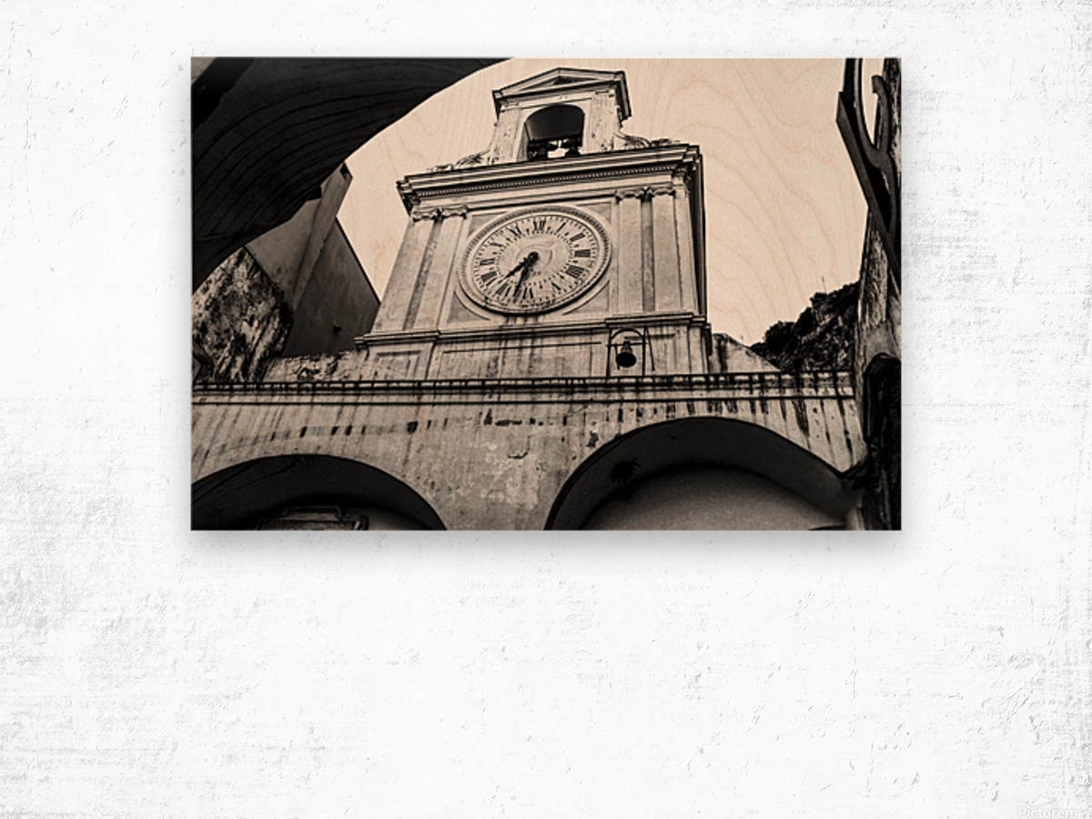 The Church - Ancient Tower Clock Wood print