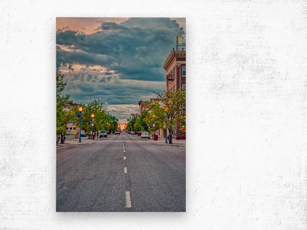 Storm Over Main Street Wood print