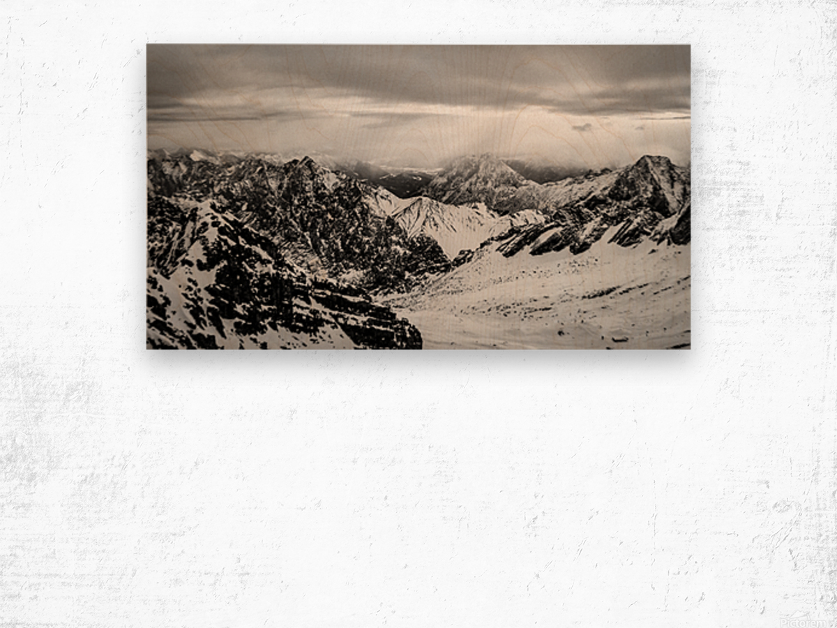 Zugspitze in black and white Wood print