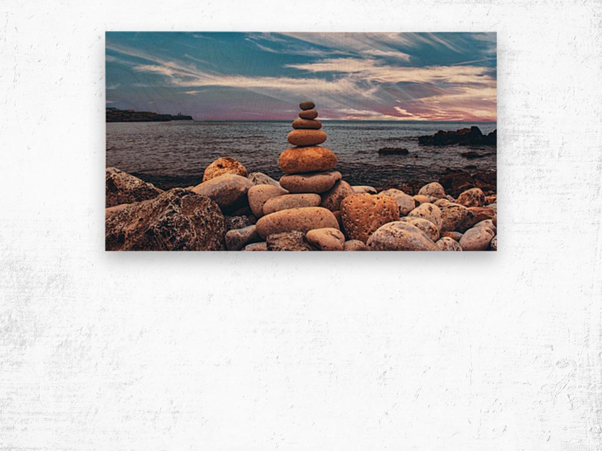 Rock balancing  Wood print