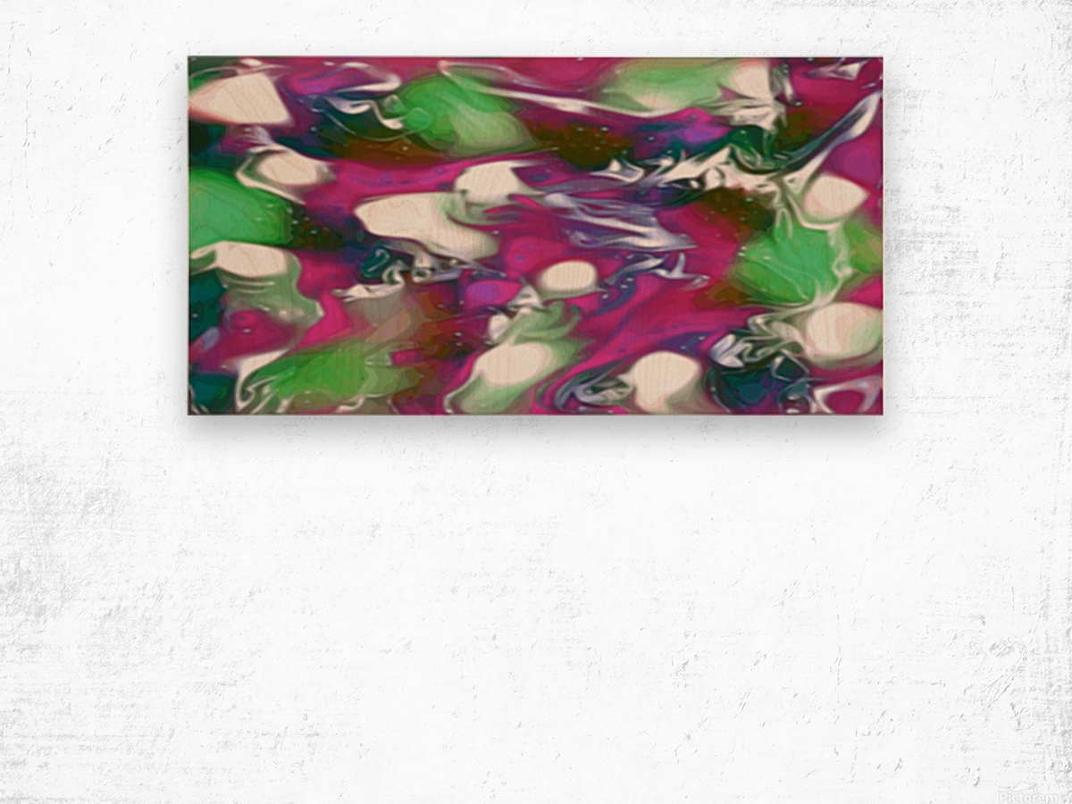 Plums & Lime with Mint Leaves - purple green white swirls and spots large abstract wall art Wood print