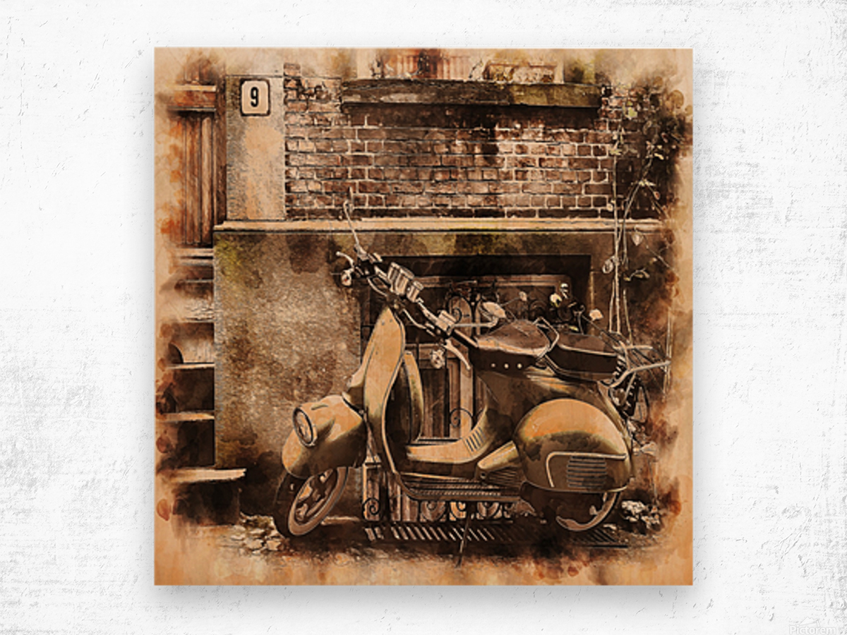 moped scooter parked building Wood print