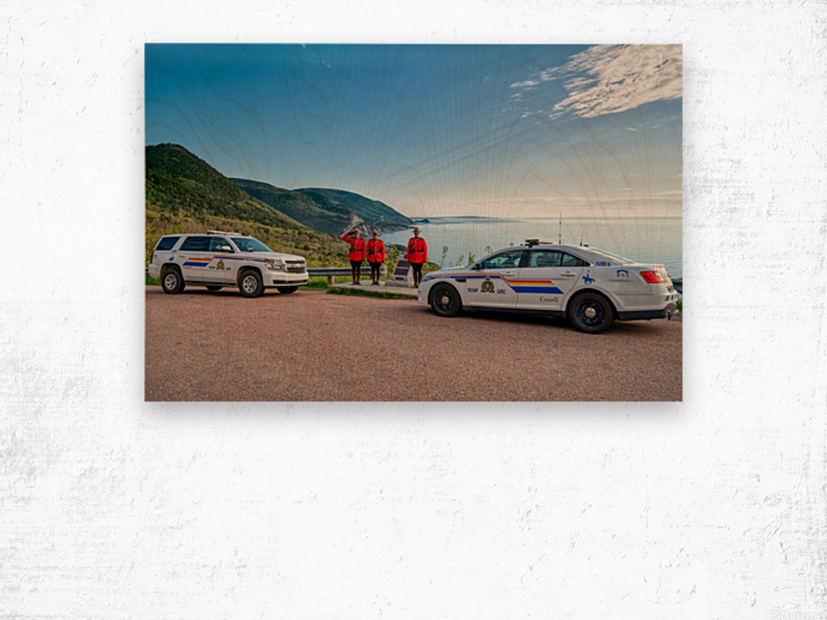 RCMP with cruisers at French Mountain Monument Wood print