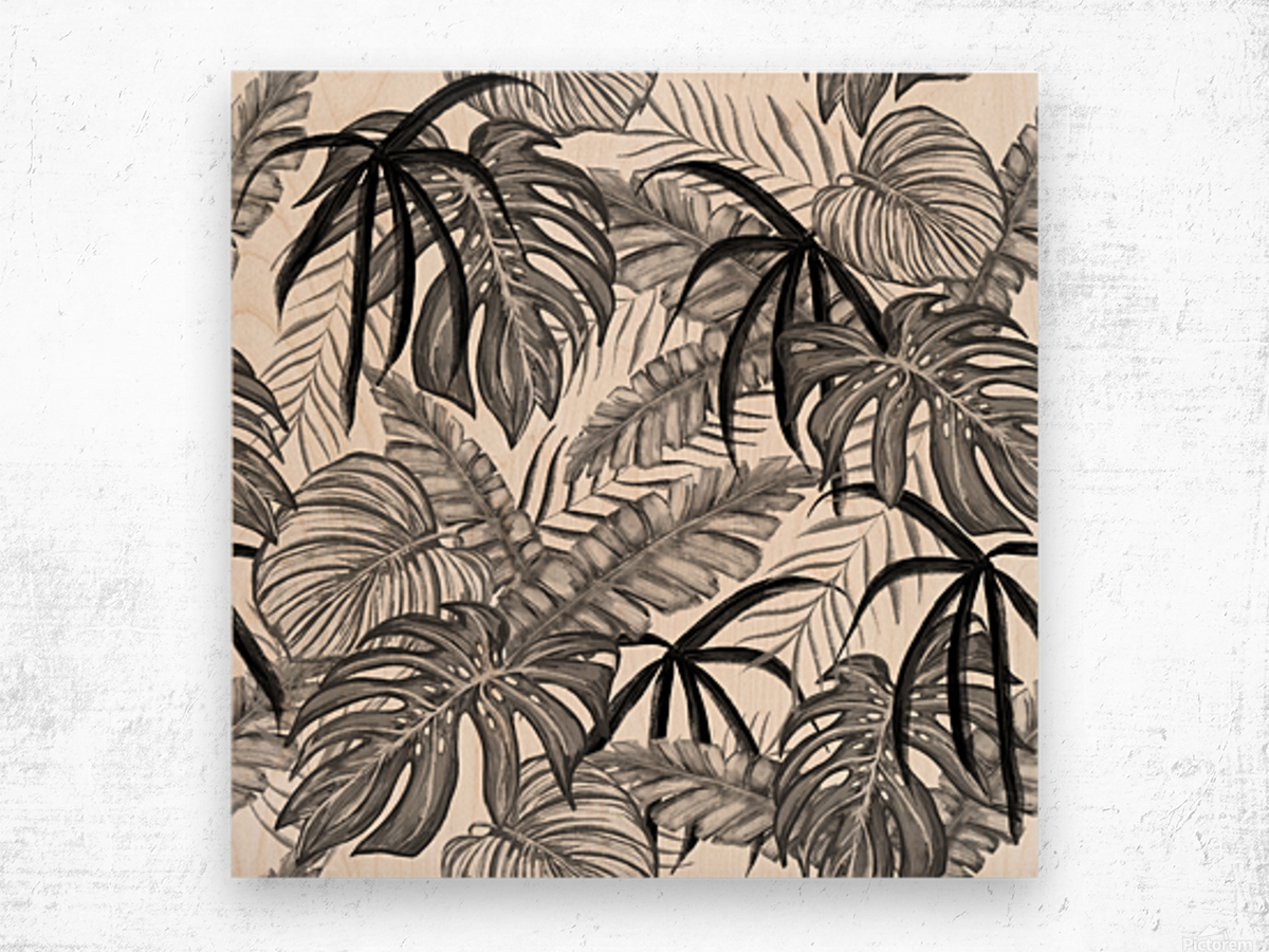 drawing leaves nature picture Wood print