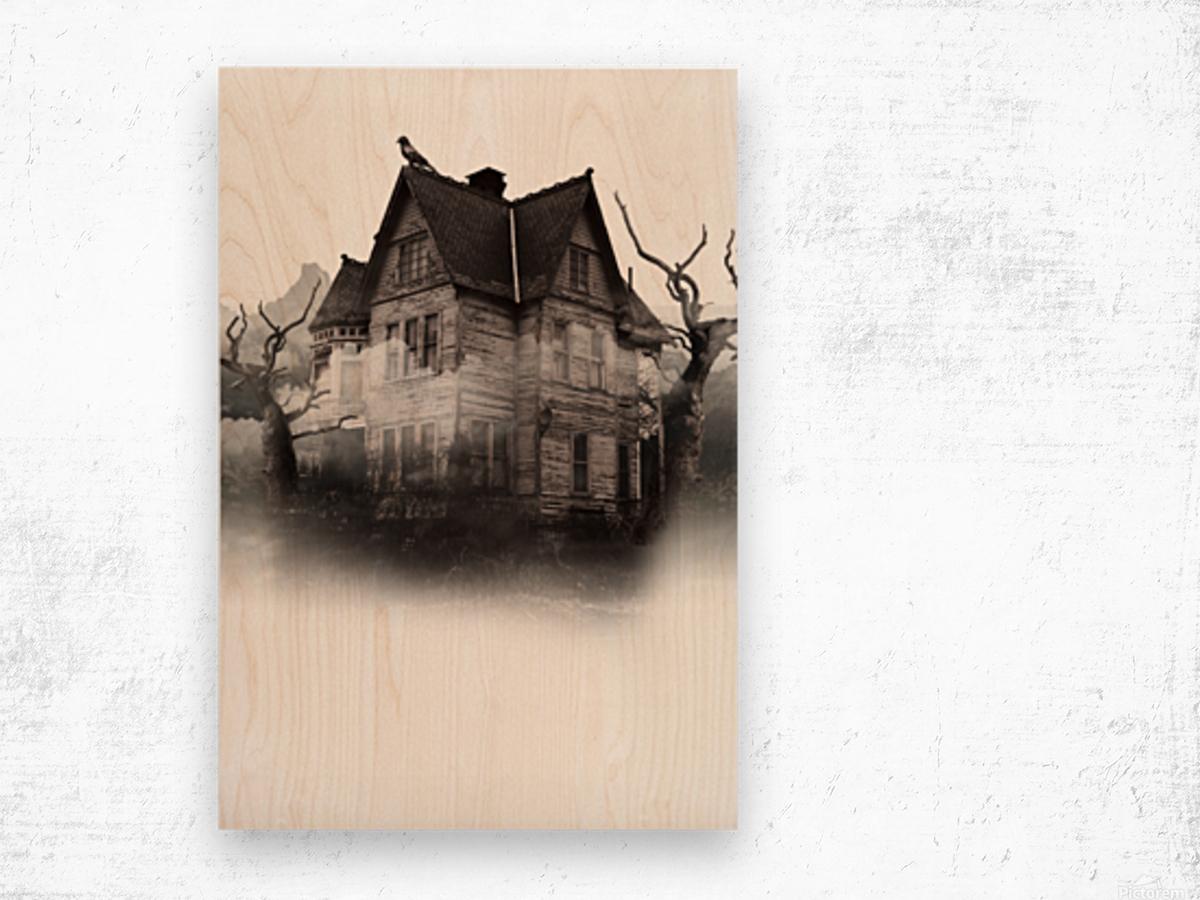 haunted night building Wood print
