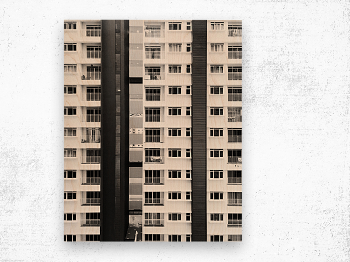 white and black city buildings Wood print