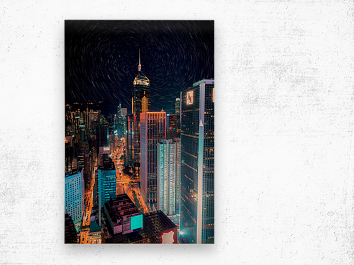 high rise buildings with lights Wood print