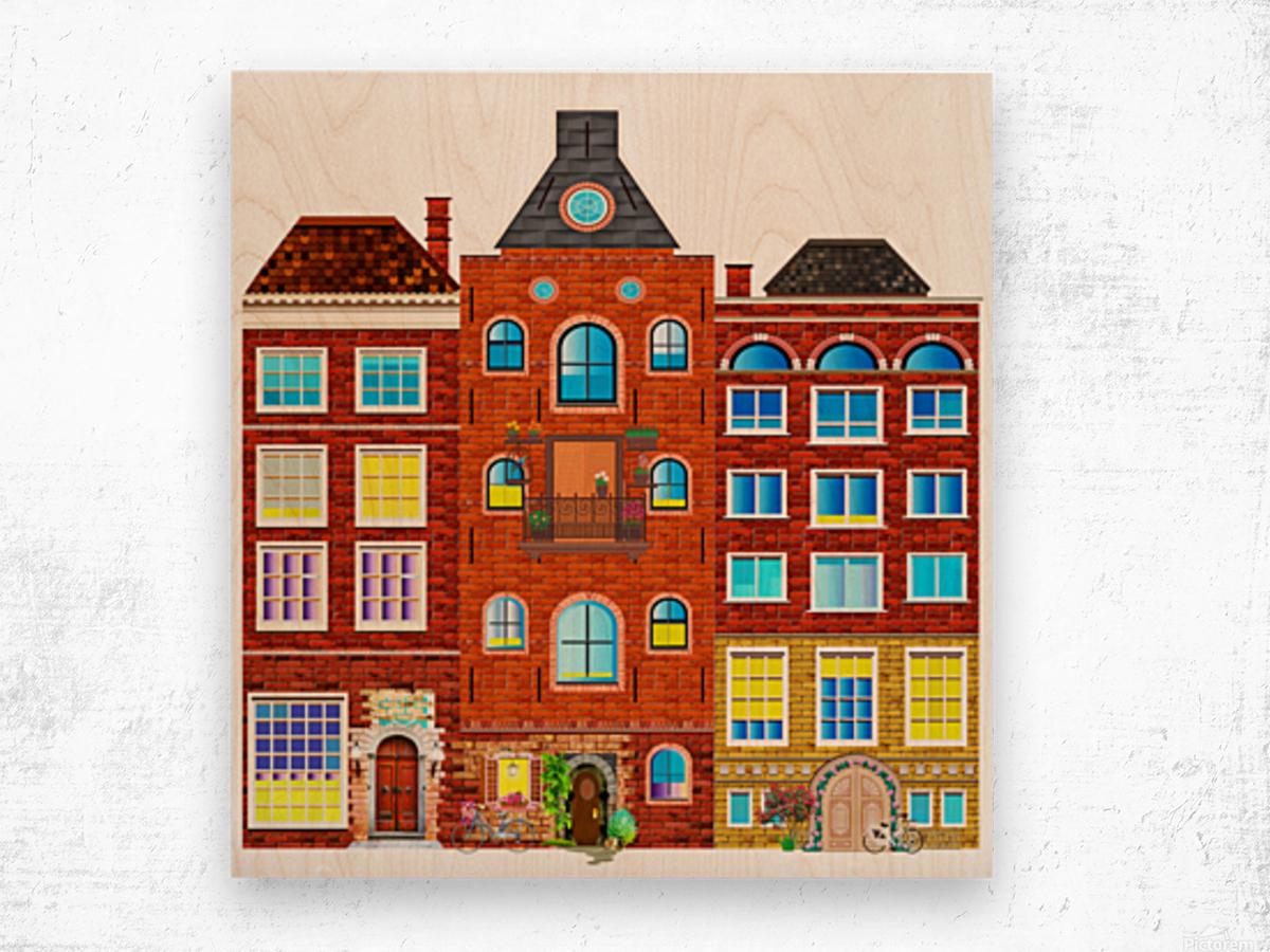 town buildings old brick building Wood print