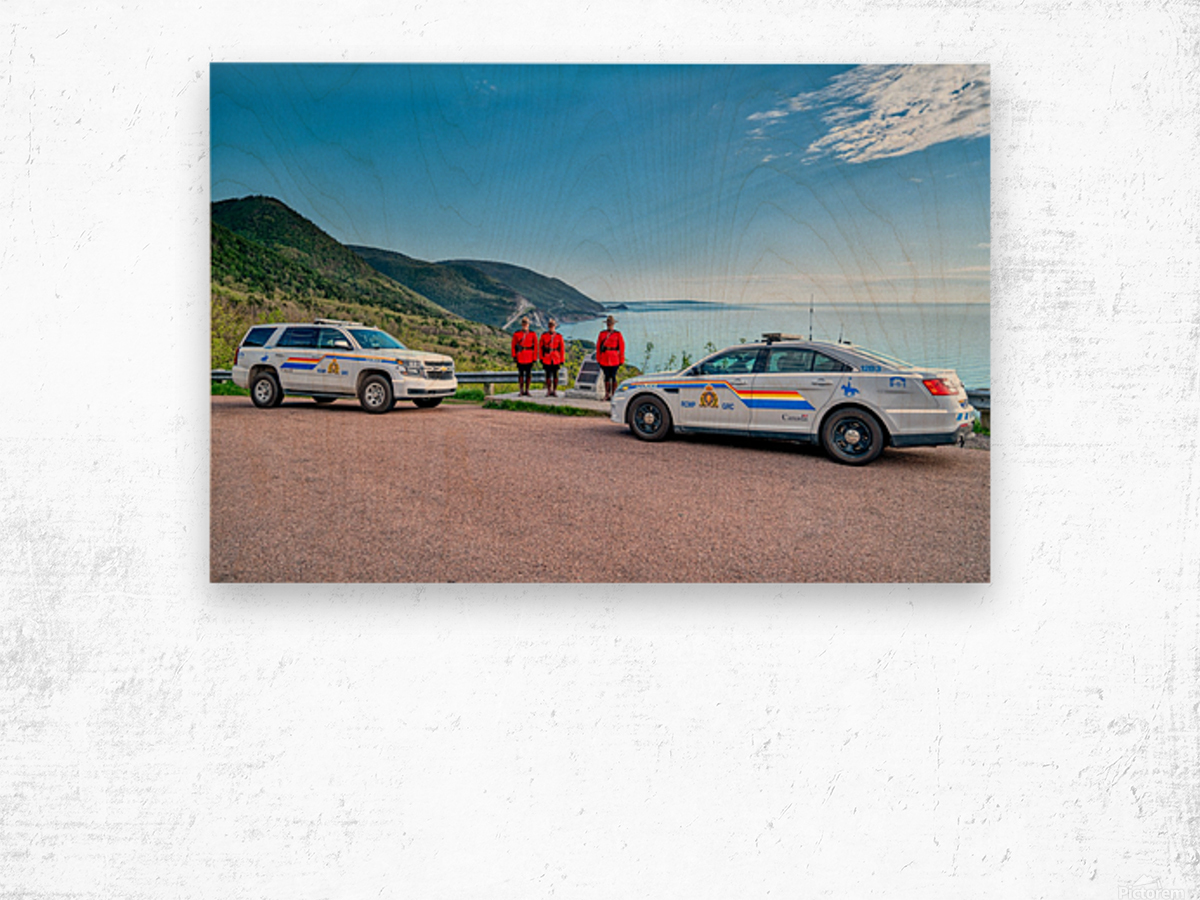 RCMP at ease with cruisers at French Mountain Monument Wood print