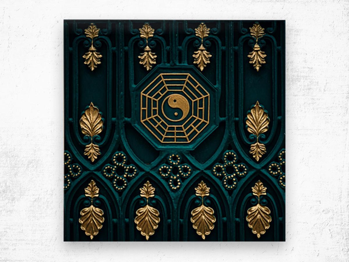 blue and brown yin yang illustration Wood print