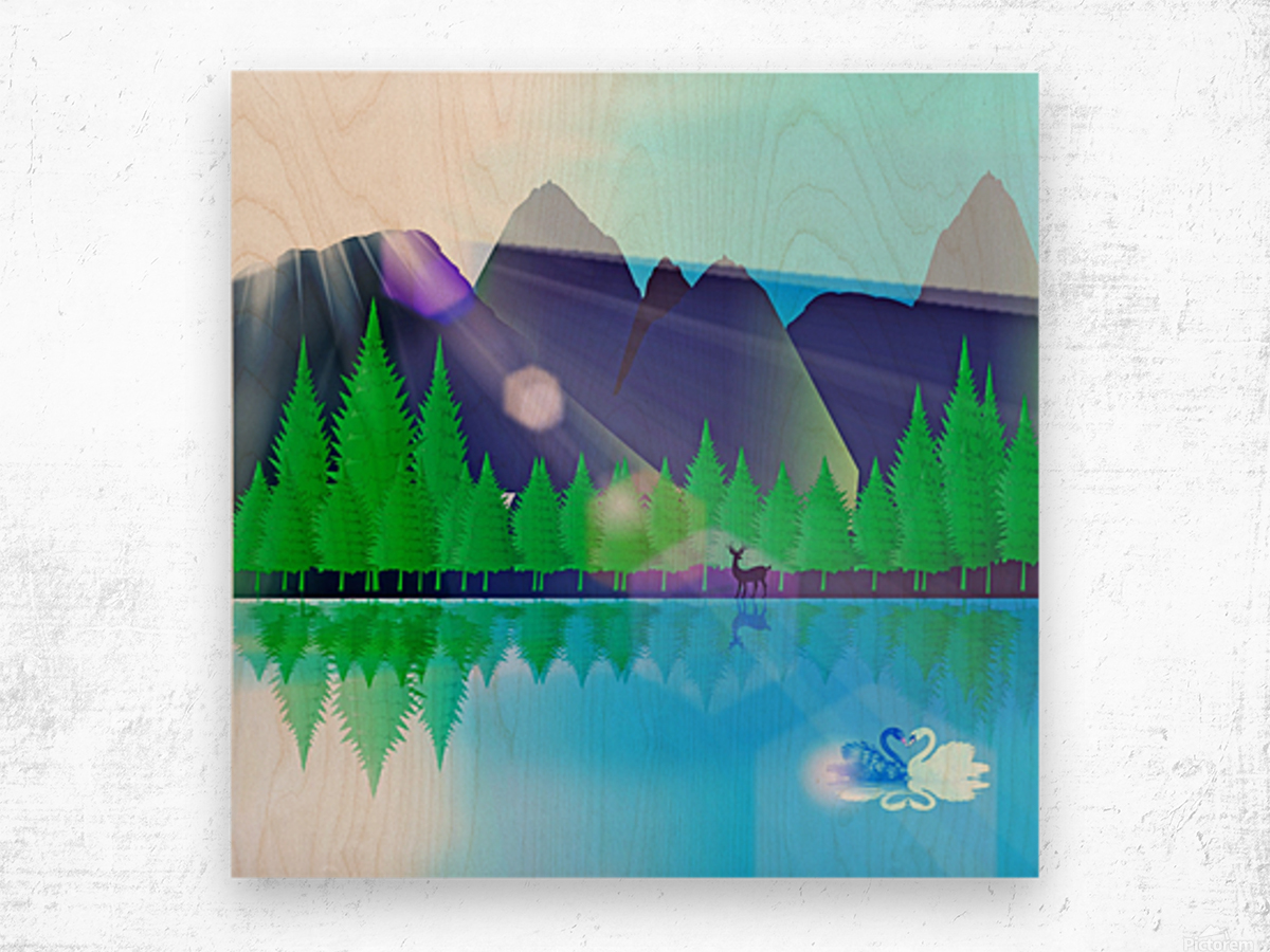 forest landscape pine trees forest Wood print