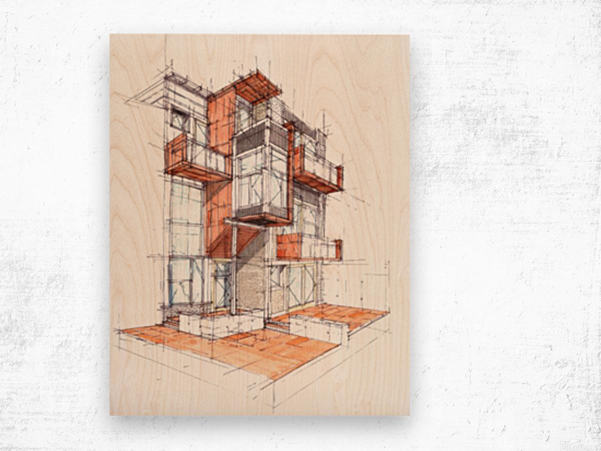 rag flats onion flats llc architecture drawing graffiti architecture Wood print