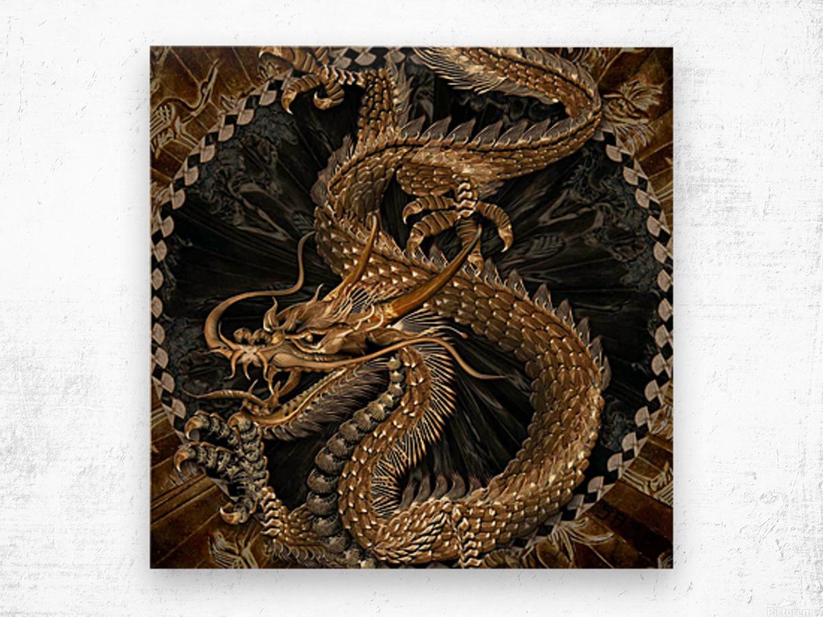 fantasy Dragon Pentagram Wood print