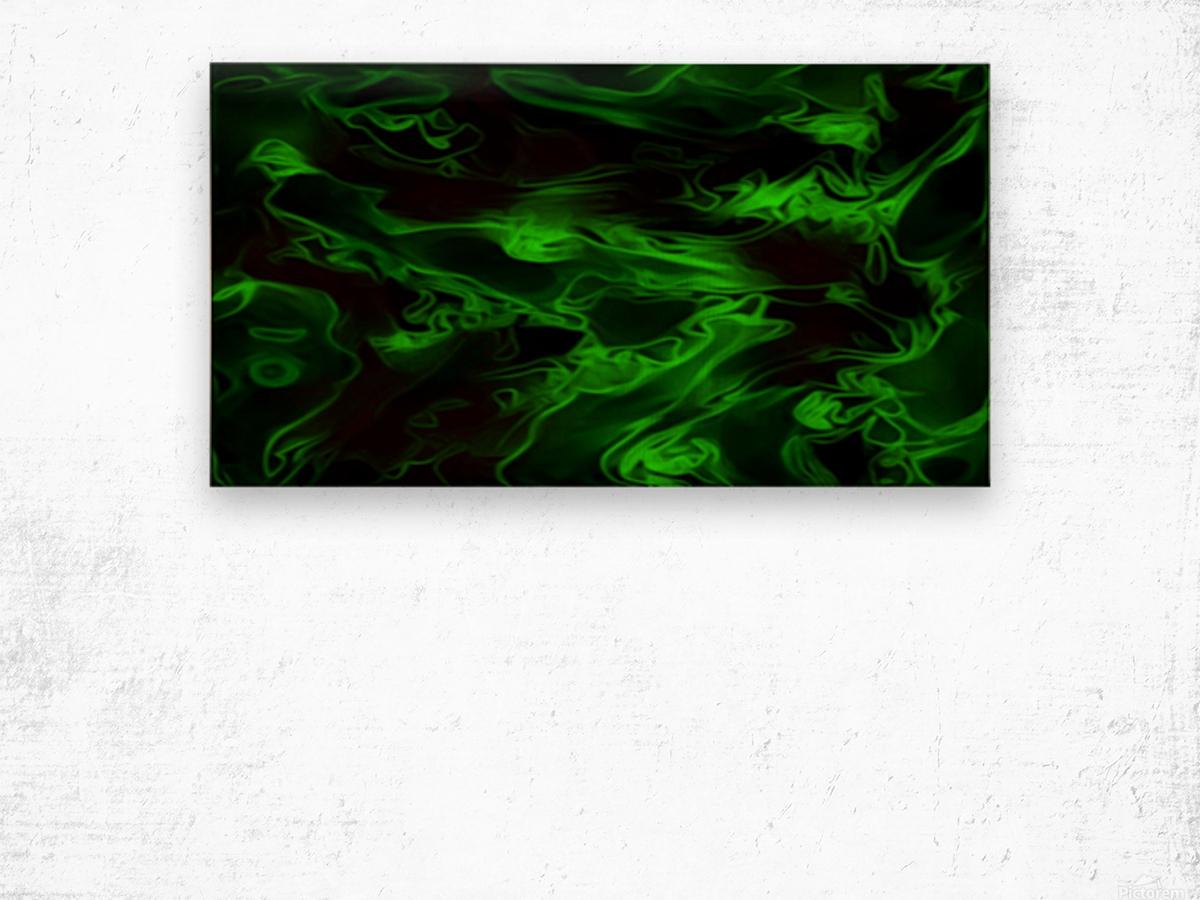 Green Plasma - green black swirls large abstract wall art Wood print