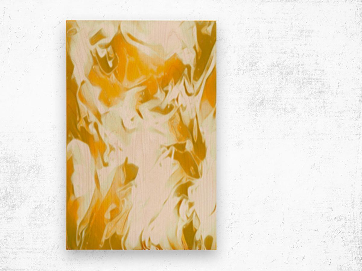 Abundant Aura - white gold swirls abstract wall art Wood print