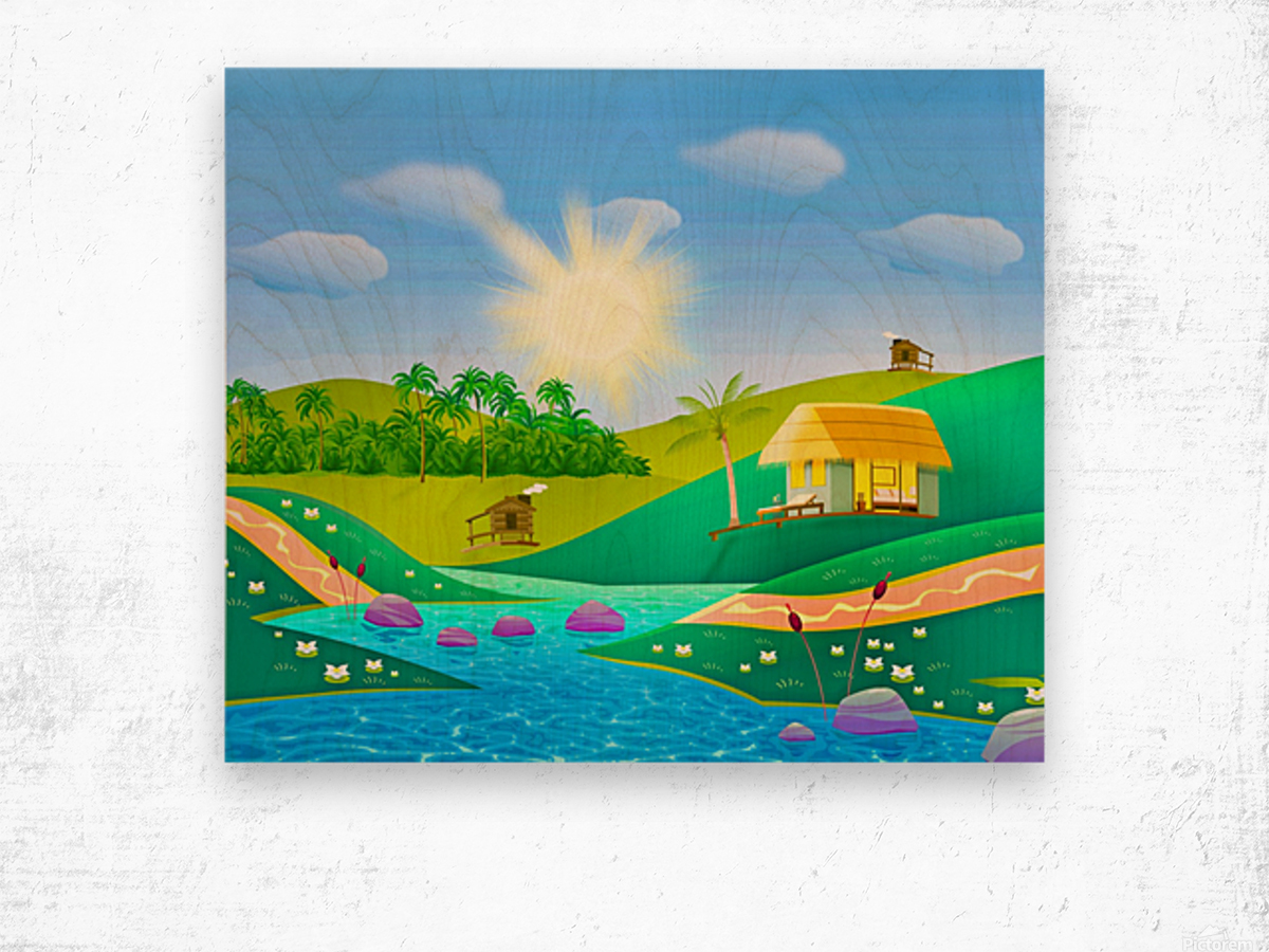 tropical resort huts lake river Wood print