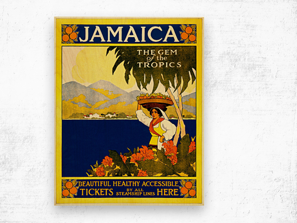 vintage retro poster travel Wood print