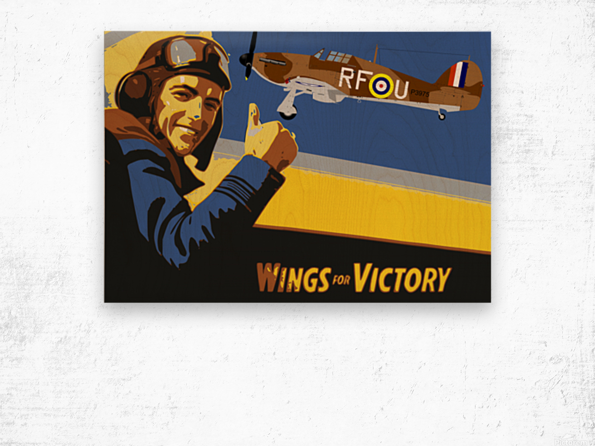 vintage war pilot airplane victory Wood print