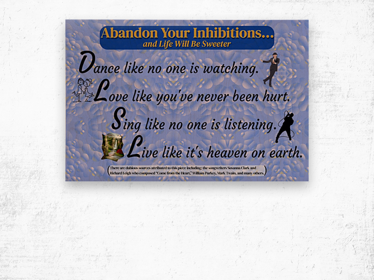 2-Dance Love Sing Live Wood print