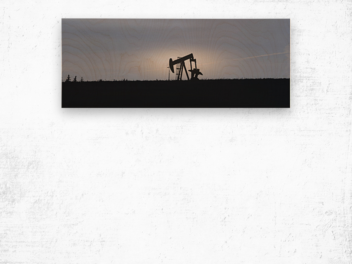 Pumpjack Oil Rig Wood print