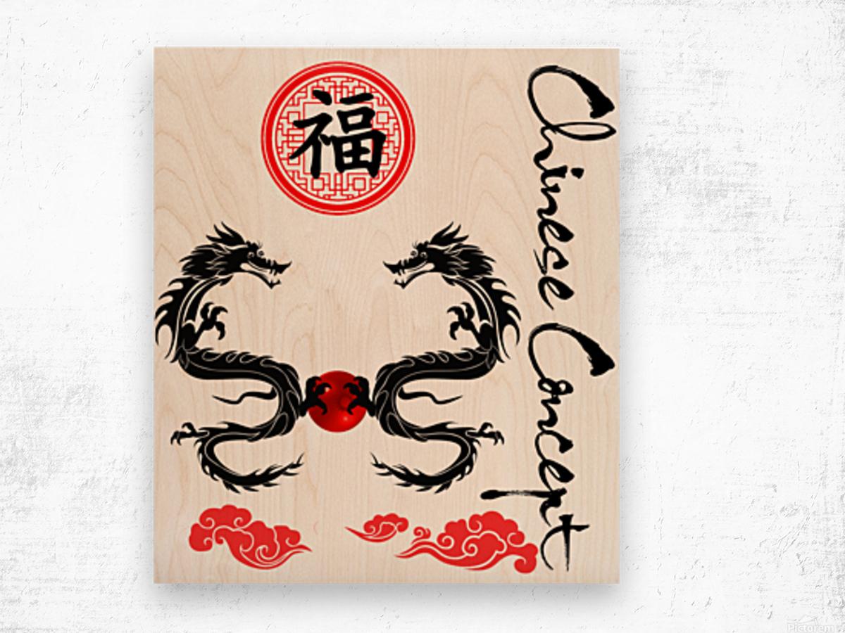 Chinese Concept 29A Impression sur bois