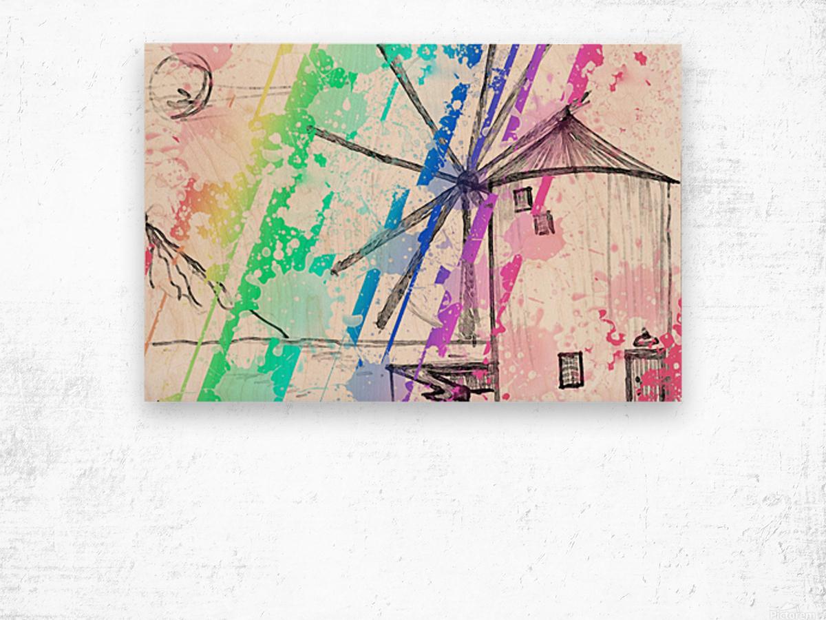 windmill art print multicolor 02 Wood print