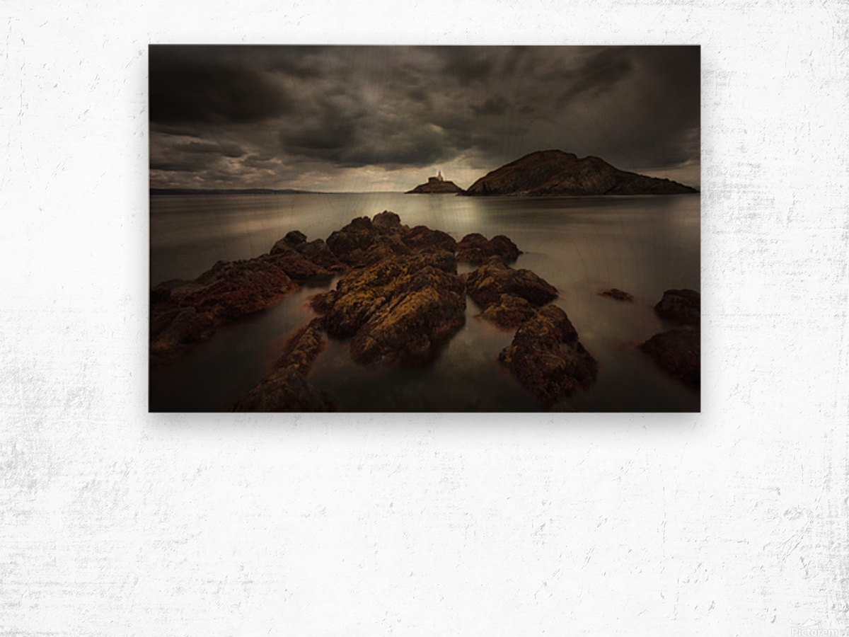 Storm clouds over Mumbles lighthouse Wood print