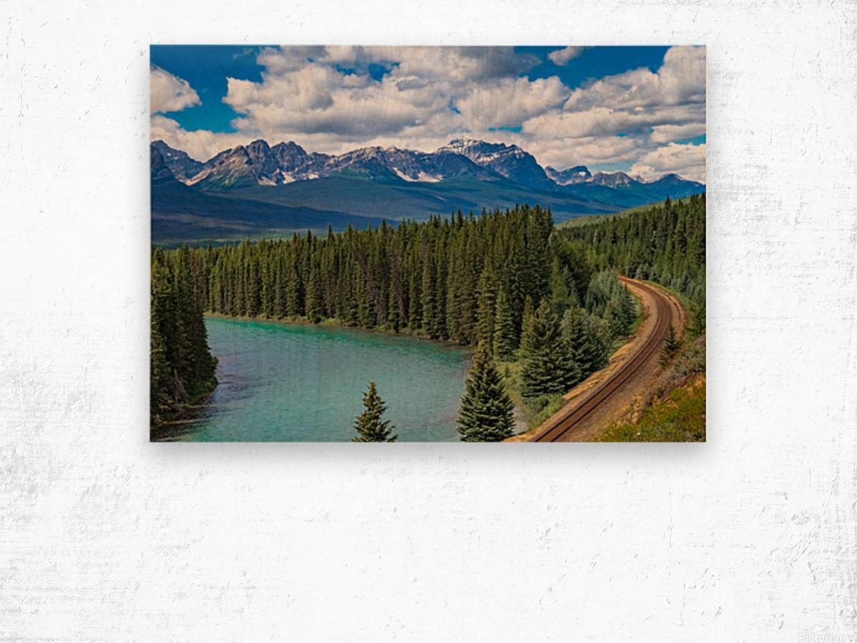 Train Tracks and River Bend Wood print