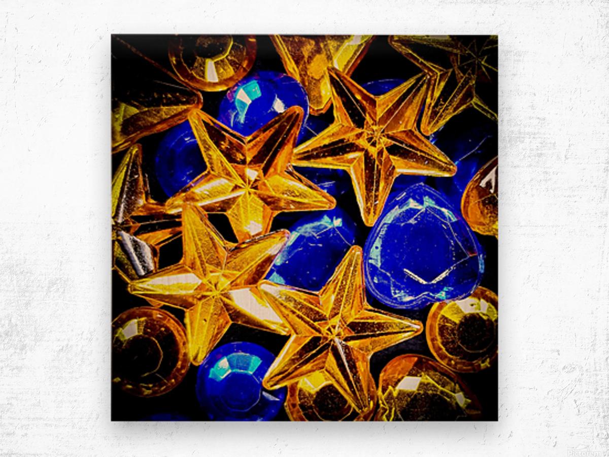 Blue and Gold Plastic Jewels Wood print