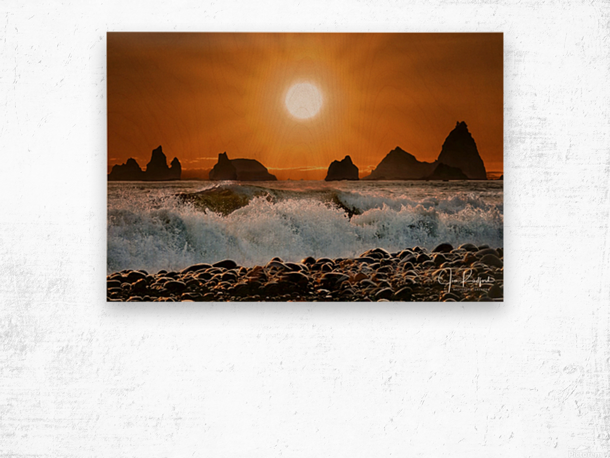 Sunset at Rialto Beach Wood print