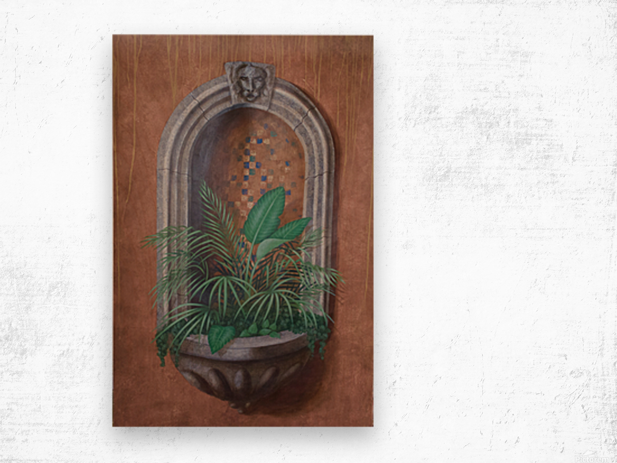 Wall Alcove with Plants - Trompe Loeil Wood print