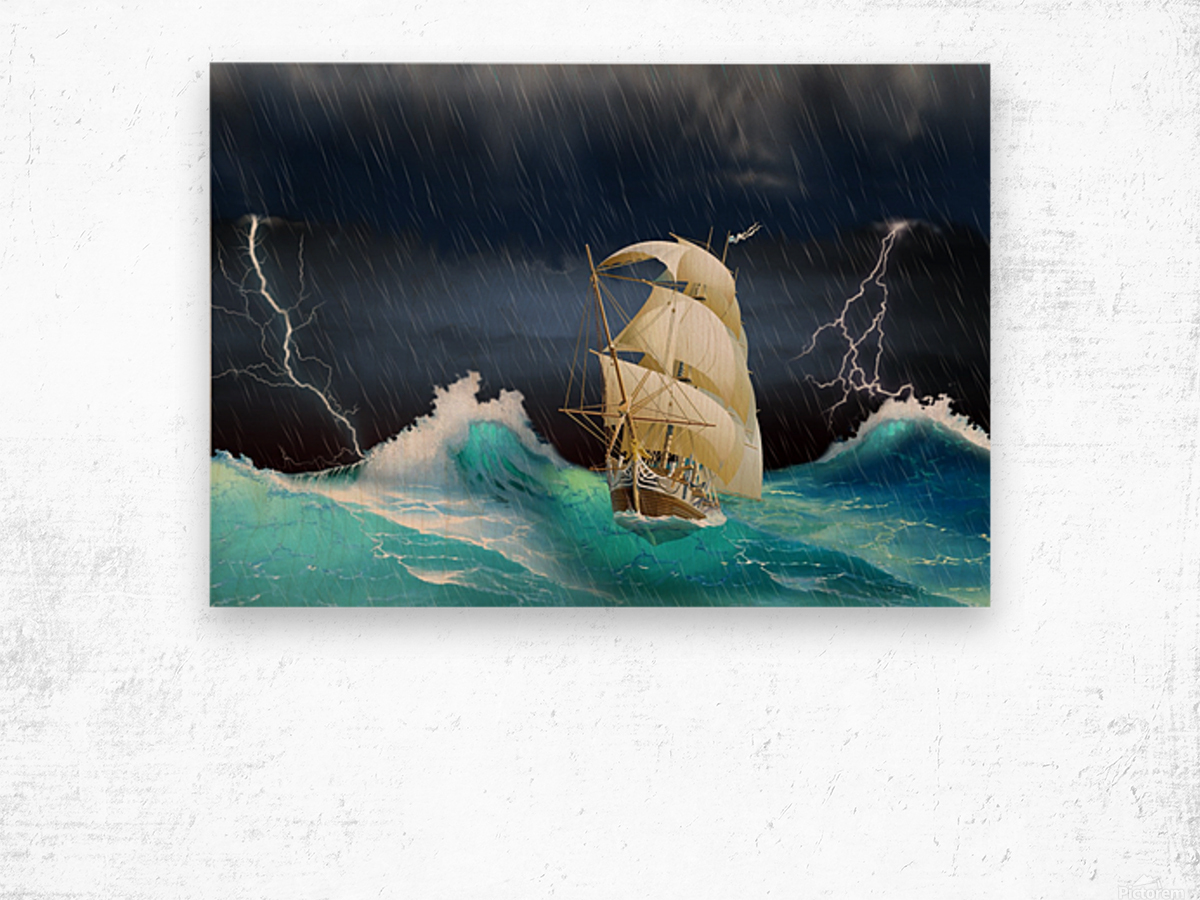 Dangerous journey sailing ship.  Wood print