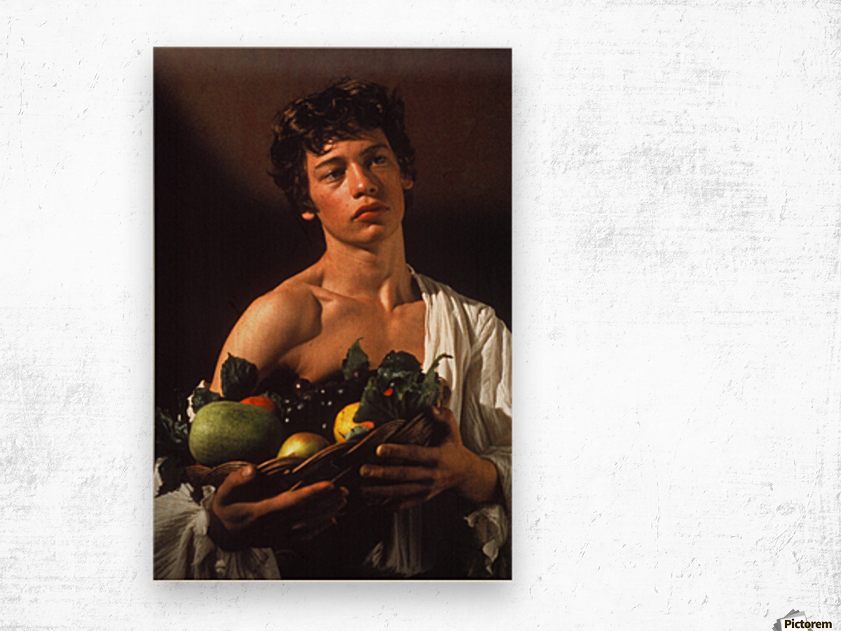 Man with fruits Wood print