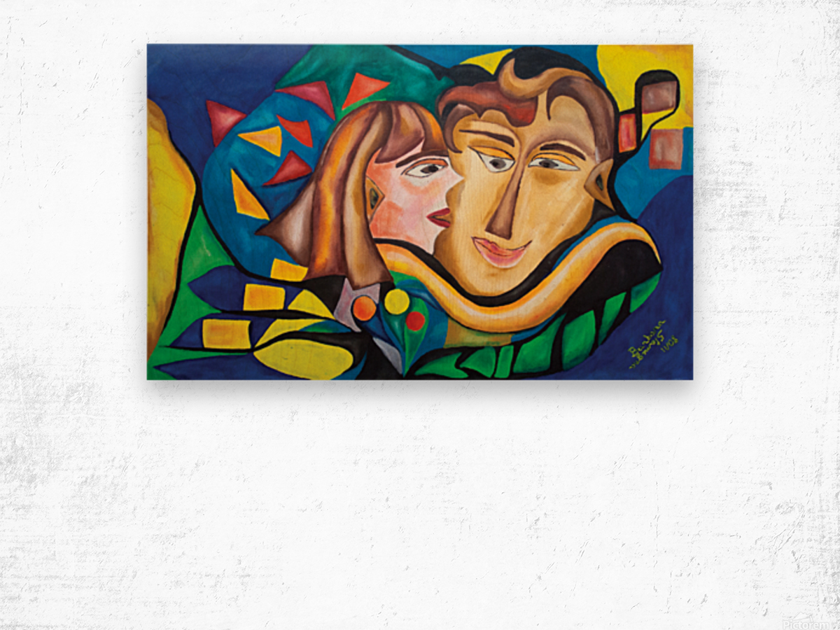 kissing woman Wood print