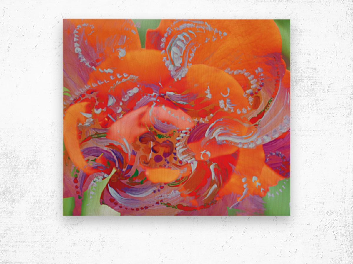 floral swirling Wood print